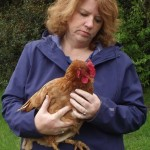 Karen Cleveland communicating with chicken